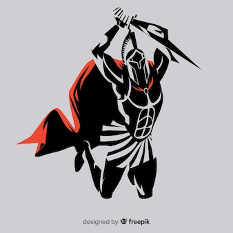 Sagoma di guerriero spartano con spada Vettore Premium