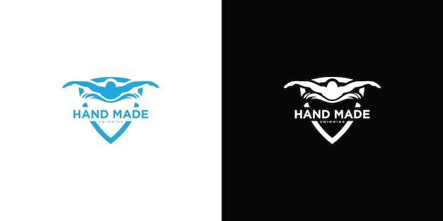 Logo del nuotatore sagoma vettore premium