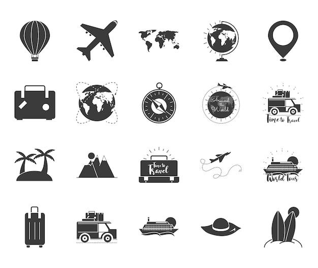 Silhouette di icone di viaggio nel tempo
