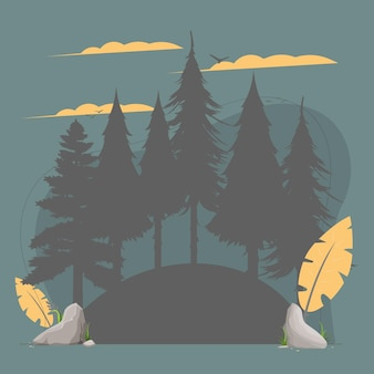 Silhouette di alberi e uccelli