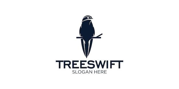 Modello di progettazione del logo dell'uccello di silhouette treewift