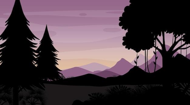 Sagoma paesaggio foresta crepuscolare sfondo