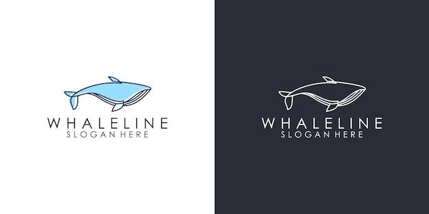 Sagoma balena logo modelli di progettazione Vettore Premium