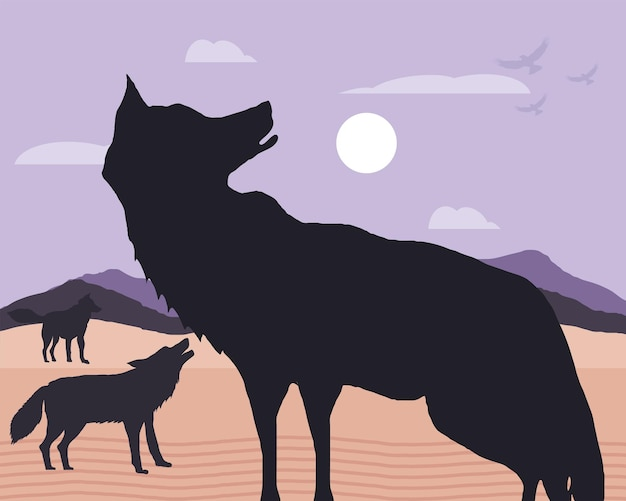 Paesaggio di lupi di sagoma