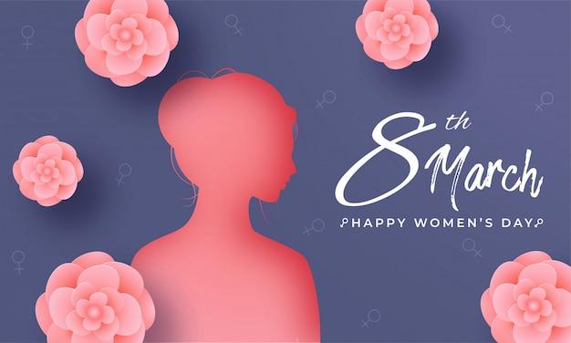 Siluetta del fronte della donna e dei fiori da taglio della carta rosa decorati sul fondo idrosessuale blu del segno per l'8 marzo, concetto del giorno delle donne felici.
