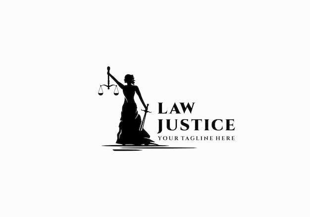 Donna della siluetta, signora. ispirazione per il modello di progettazione del logo dell'avvocato della giustizia
