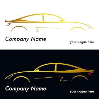 Sagoma di un'auto gialla su sfondo bianco e nero