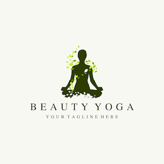 Silhouette yoga donne logo illustrazione