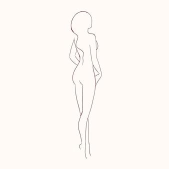 Siluetta di giovane donna nuda sexy splendida con figura snella disegnata a mano con linee di contorno