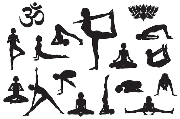 Siluette della ragazza nelle pose di yoga. simbolo di yoga om aum e fiore di loto. set di illustrazioni vettoriali isolate