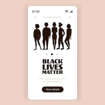 Le siluette della gente contro la discriminazione razziale il blackout martedì nero vive la questione concetto