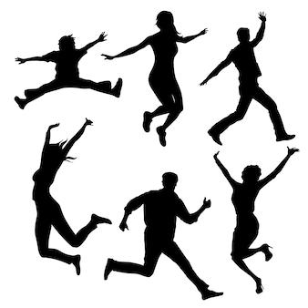 Sagome di persone che saltano