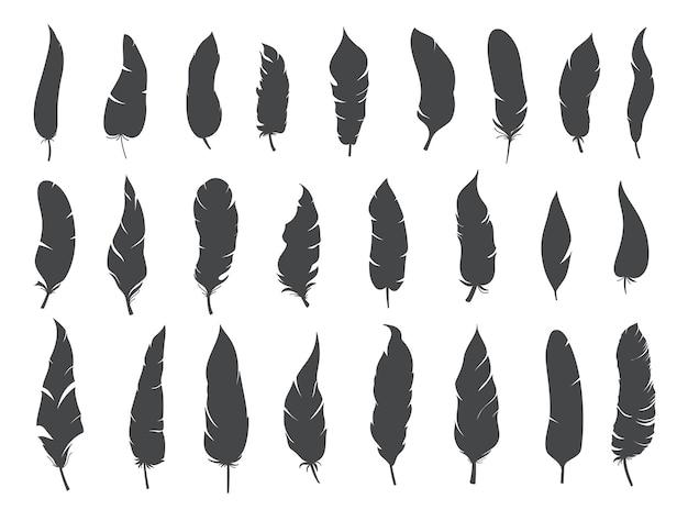 Sagome piume etniche rustiche, piume tribali vettoriali boho di inchiostro monocromatico glifo.