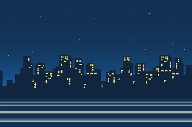 Sagome di grattacieli nel paesaggio della città di notte in stile piatto