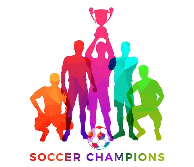 Siluette dei giocatori di calcio con la palla. campioni di calcio della squadra nel reticolo del mosaico del triangolo della decorazione. giocatori di football in posa con la coppa del trofeo. illustrazione vettoriale isolato