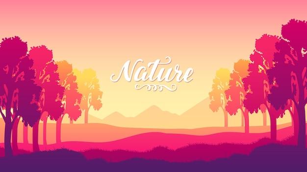 Silhouettes ² con bellissimi alberi al tramonto del concetto di design giorno.i raggi del sole illuminano lo sfondo