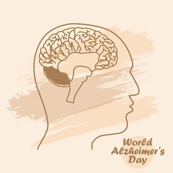 Sagome con cervello illustrazione vettoriale della giornata mondiale dell'alzheimer