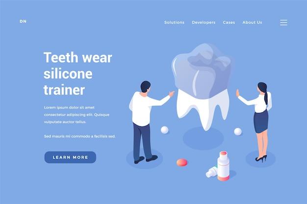 Cuscinetto in silicone contro l'usura dei denti i dentisti installano l'attrezzo ginnico per cuscinetti dentali
