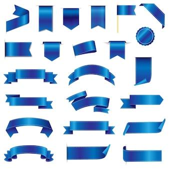 Nastri di seta blu e etichette con maglia sfumata, Vettore Premium
