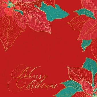 Seta poinsettia natale quadrato sfondo rosso per i social network. foglie di seta rosse e verdi con linea dorata su fondo rosso. decorazioni eleganti per natale e capodanno