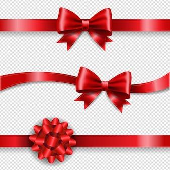 Fiocco di seta rossa e sfondo trasparente