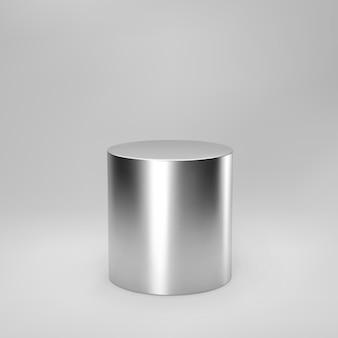Vista frontale del cilindro d'argento 3d con prospettiva isolata su fondo grigio. colonna cilindrica, tubo in acciaio cromato, palcoscenico da museo, piedistallo o podio del prodotto. vettore di forma geometrica 3d.