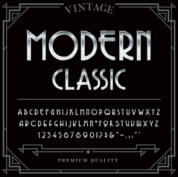 Set di caratteri metallizzati argento o cromato. lettere, numeri e caratteri speciali