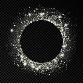 Cornice circolare in argento con glitter, scintillii e bagliori su sfondo trasparente scuro. sfondo di lusso vuoto. illustrazione vettoriale.