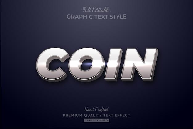Effetto di testo modificabile premium lucentezza moneta d'argento