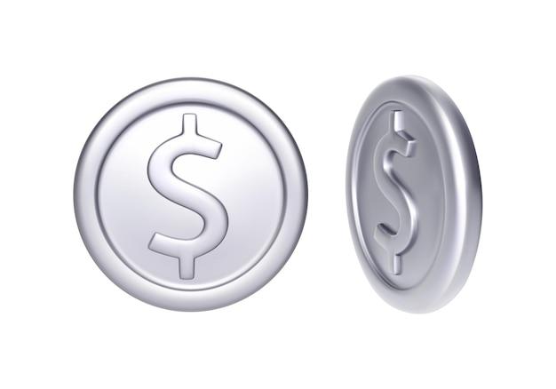 Moneta d'argento con il simbolo del dollaro. soldi metallici di rotazione. illustrazione vettoriale