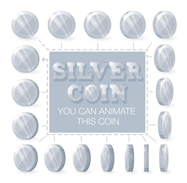Monete d'argento per l'animazione passo passo