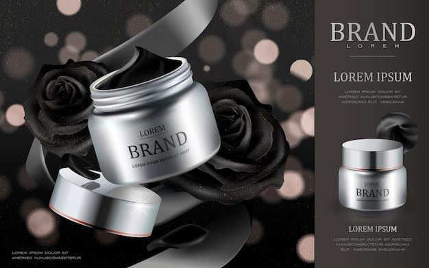 Contenitore crema argento con petali di rose nere