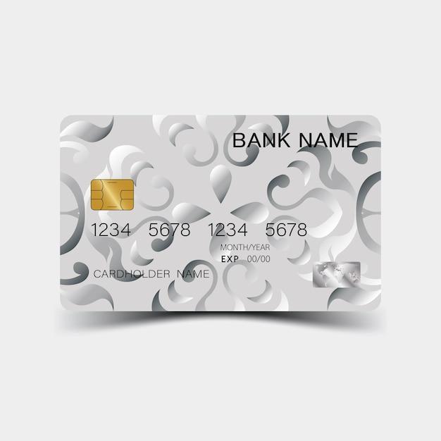 Design della carta di credito in argento e ispirazione dall'estratto su sfondo bianco