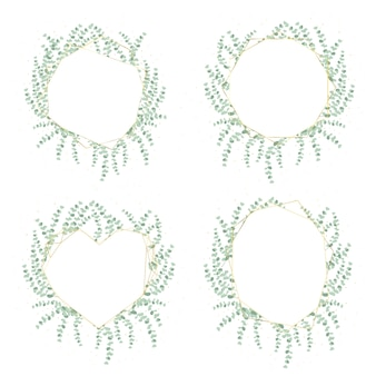Corona di foglie di eucalipto dollaro d'argento con cornice dorata di lusso e collezione glitter isolata
