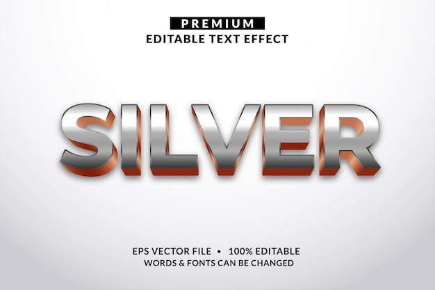 Stile carattere effetto testo modificabile argento