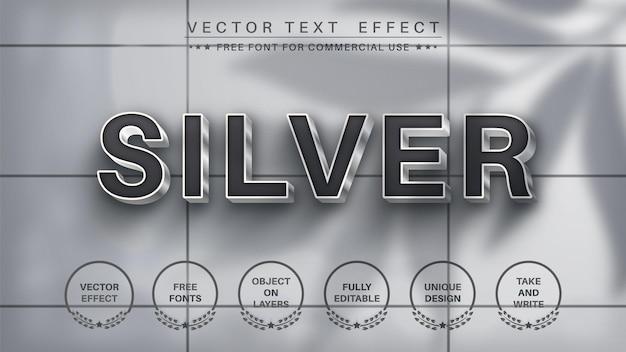 Stile del carattere effetto testo modificabile argento