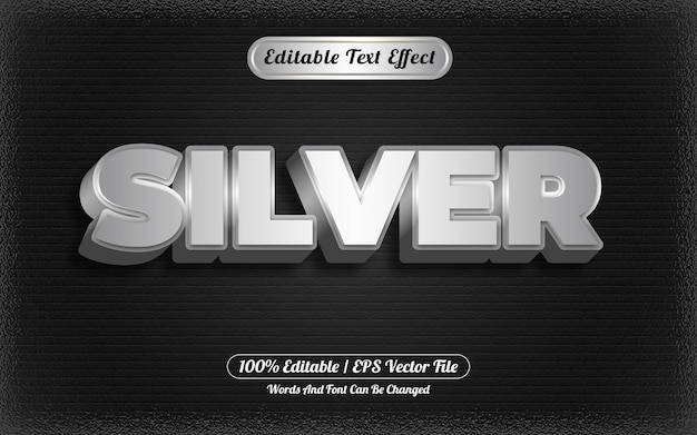 Stile modello effetto testo modificabile argento