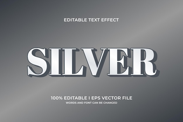 Effetto di testo modificabile argento