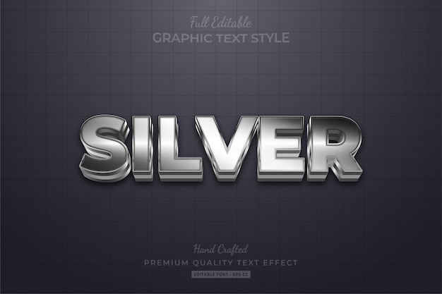 Effetto stile testo modificabile argento