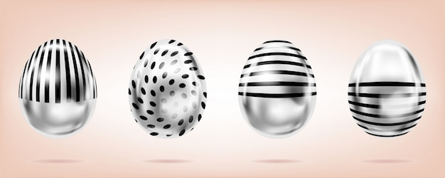 Uova d'argento sul rosa