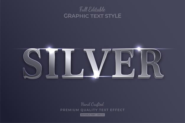 Stile di carattere effetto testo modificabile elegante argento