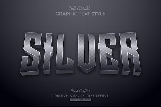 Stile del carattere di effetto testo modificabile elegante argento