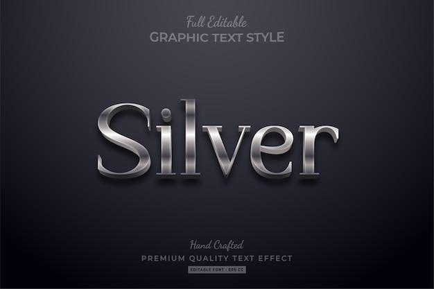 Argento elegante effetto di stile di testo modificabile