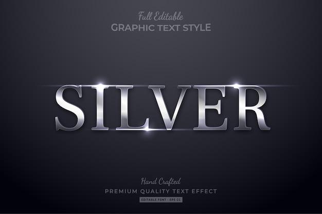 Stile carattere effetto testo modificabile bagliore elegante argento
