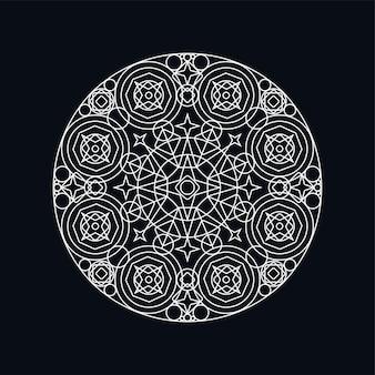 Illustrazione di lineart mandala geometrica d'argento isolata sul nero. motivo tradizionale. tatuaggio boho