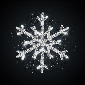 Icona di fiocco di neve con texture glitter argento simbolo di neve di inverno di natale capodanno lucido