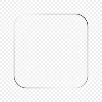 Cornice quadrata arrotondata d'argento incandescente isolata su sfondo trasparente. cornice lucida con effetti luminosi. illustrazione vettoriale