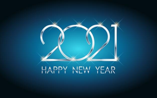 Argento felice anno nuovo 2021 in sfondo di colore blu
