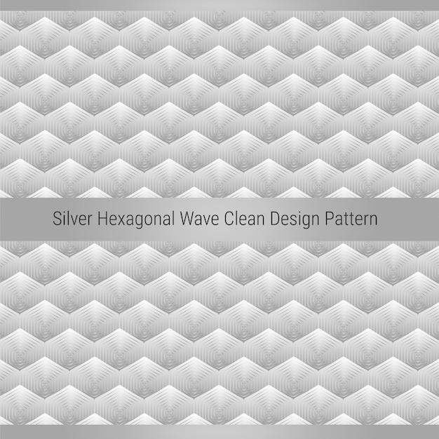 Modello di design pulito a onda esagonale argento Vettore Premium