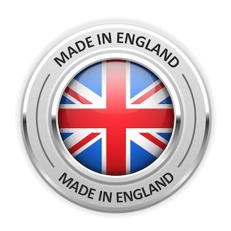 Medaglia d'argento made in england con bandiera